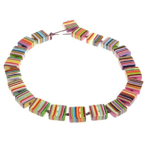 Jackie Brazil Liquorice Half cube necklace in Mix Colours